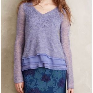 Knitted and Knotted Alpaca Wool Ruffle Hem Sweater